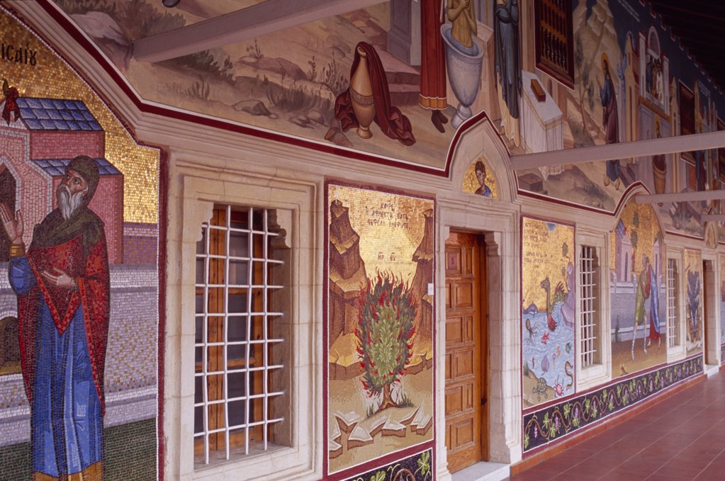 Stock Photo: 1850-11123 Cyprus, Troodos Mountains, Kykko Monastery, Detail Of Brightly Coloured Mosaics Depicting Old Testament Scenes.