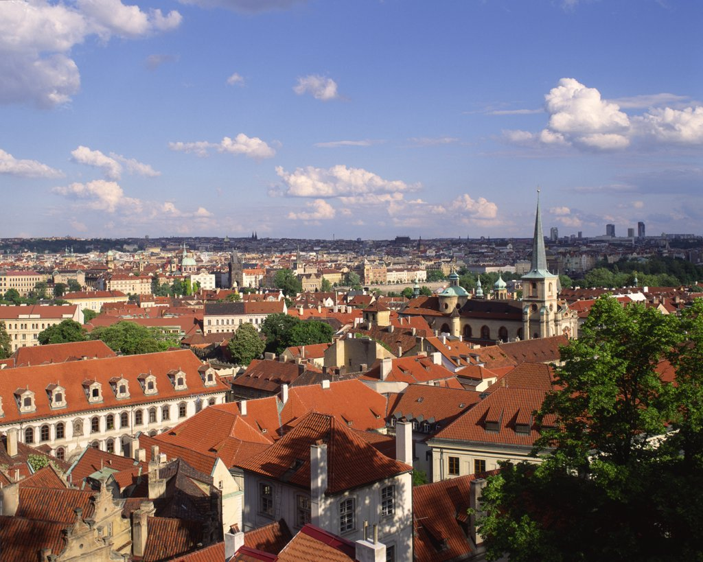 Stock Photo: 1850-11347 Czech Republic, Stredocesky, Prague, View Over City Rooftops