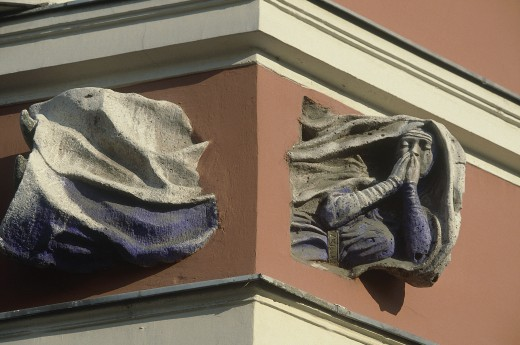 Stock Photo: 1850-1138 Hungary, Budapest, Building Detail Showing A Flying Nun Passing Through The Corner Of A Building