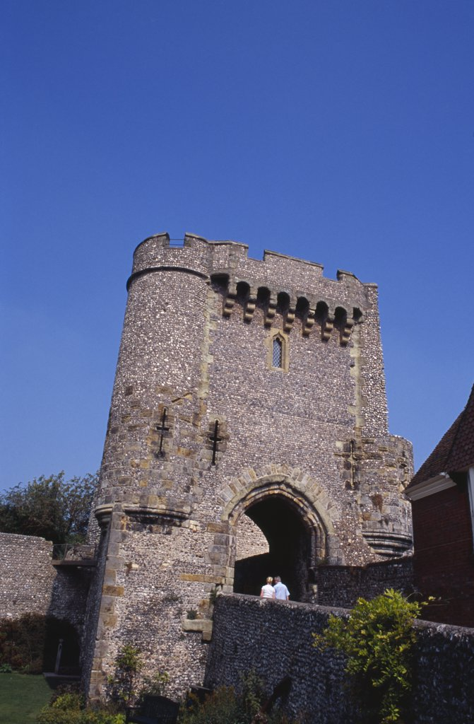 England, East Sussex, Lewes, Lewes Castle. View Of One Of The Semi Octagonal Towers. : Stock Photo