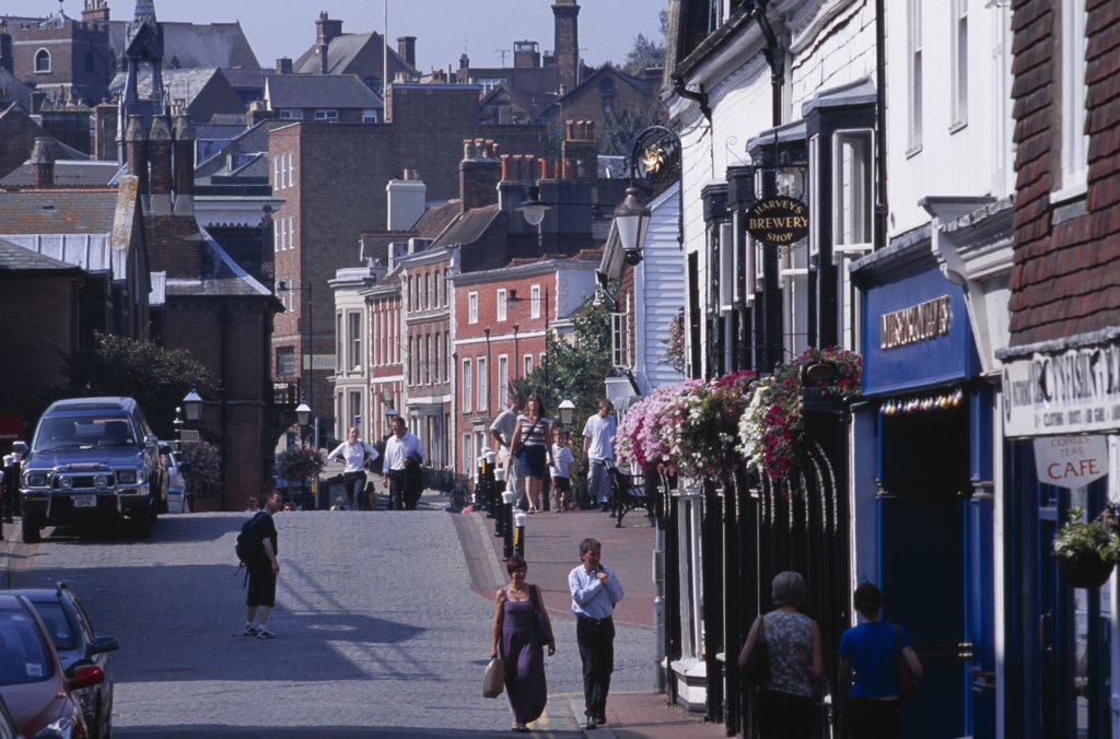 England, East Sussex, Lewes, Lewes Town Centre With View Down Pedestrian Shopping Area. : Stock Photo