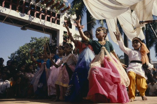 India, Goa, Margao, Children Dressed As Adults Performing Dance During Carnival. : Stock Photo