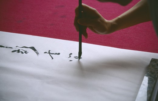 Stock Photo: 1850-11601 China, Sichuan, Leshan, Cropped View Of Person Writing Traditional Chinese Caligraphy.