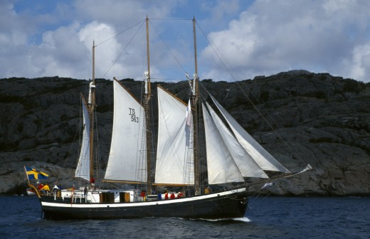 Stock Photo: 1850-12190 Sweden, Transport, Ship, Baltic Trading Vessel Off The West Coast Of Sweden.