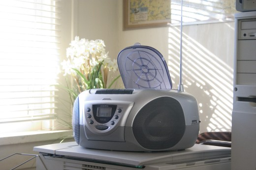 Stock Photo: 1850-12335 Usa, Minnesota, St Paul, Cd Player Next To Desk In Home Office.