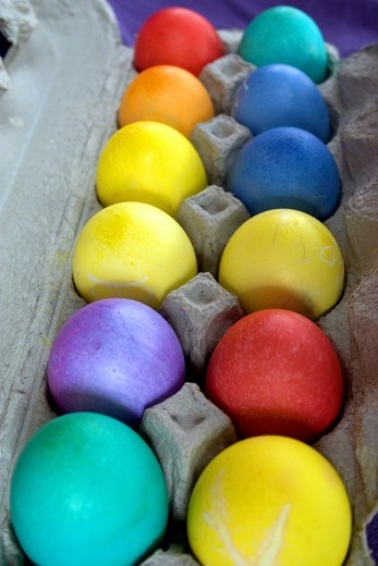 Usa, Minnesota, St Paul, A Dozen Dyed Easter Eggs In A Carton. : Stock Photo
