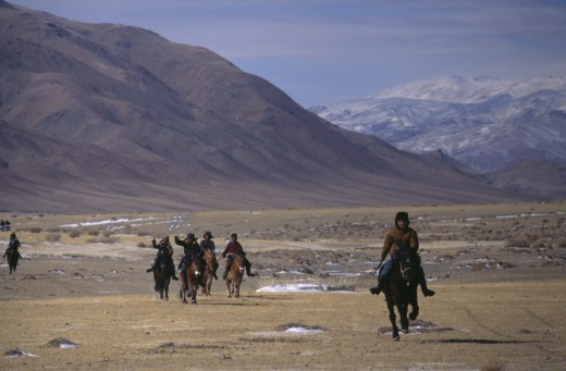 Mongolia, Bayan Olgii, Nomads, Kazakh Nomads Gathering For New Year Horse Race. : Stock Photo
