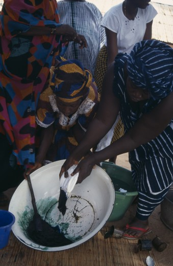 Gambia, Work, Women Tie Dye Fabric. : Stock Photo