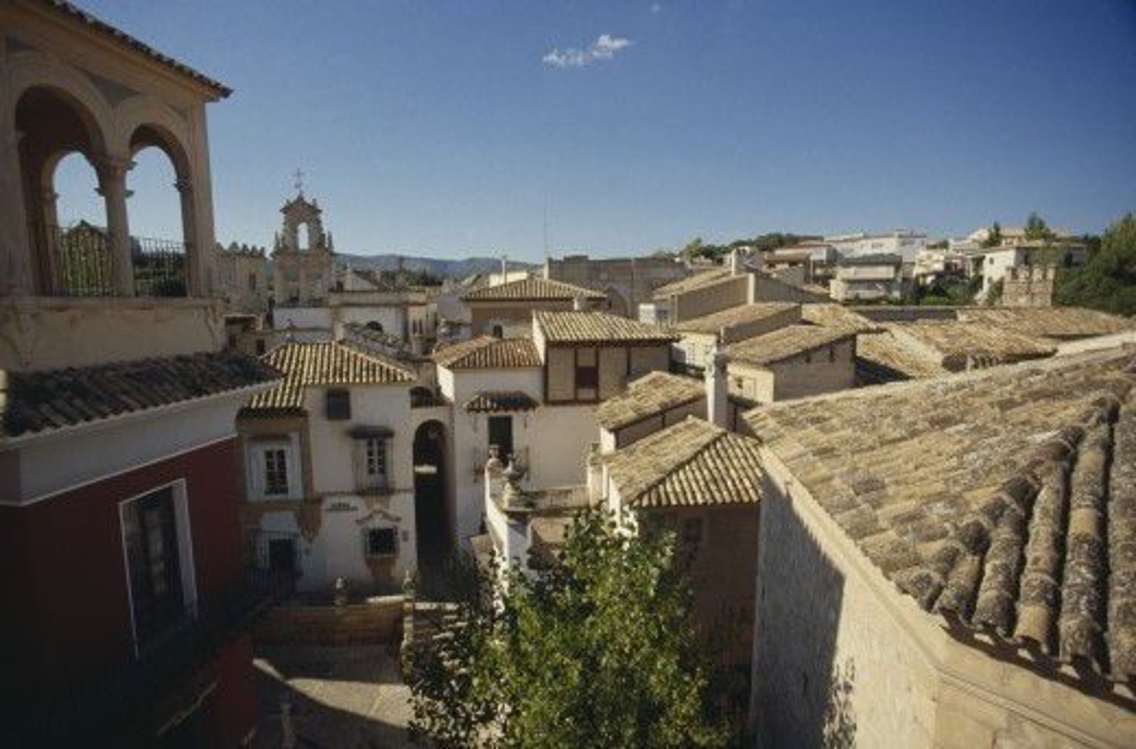 Stock Photo: 1850-12451 Spain, Balearic Islands, Majorca, Palma.  Tiled Rooftops Of Old Spanish Town.