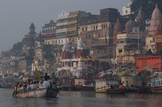 Stock Photo: 1850-12759 India, Uttar Pradesh, Varanasi , Dashaswamedh Ghat On The Ganges River Looking South With Boats And Bathers