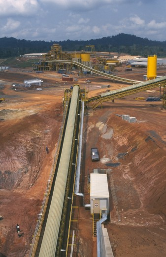 Stock Photo: 1850-13329 Ghana, Industry, Elevated View Over Gold Mine And Machinery.