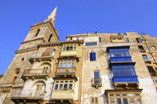 Malta, Valletta , Angled View Looking Up At Architectural Facade : Stock Photo