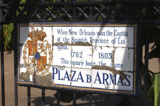 Usa, Louisiana, New Orleans, French Quarter. Tiled Plaque On Wrought Iron Gate Of The Historically Known Plaza D Armas : Stock Photo