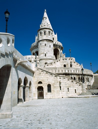 Stock Photo: 1850-13868 Hungary, Budapest, Castle Hill. View Of The Fishermans Bastion Which Dates From 1905