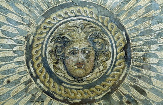 Libya, Tolmeita, Mosaic Depicting Medusa Exhibited In The Museum : Stock Photo