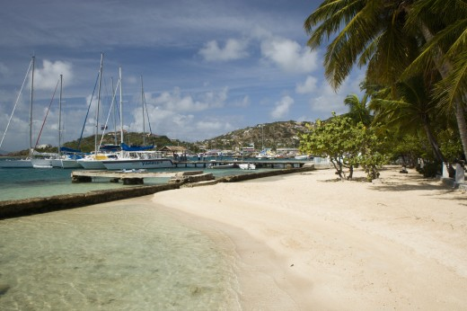 Stock Photo: 1850-14097 West Indies, St Vincent & The Grenadines, Union Island, Clifton Harbour Moorings And Beach Outside The Anchorage Yacht Club