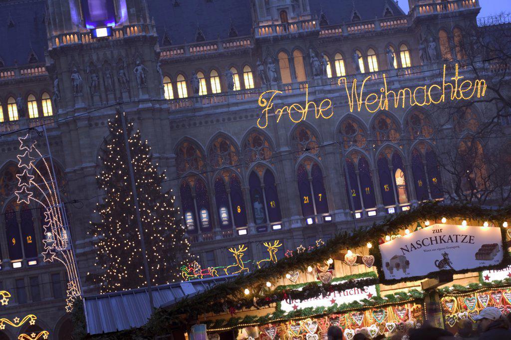 Austria, Lower Austria, Vienna, The Rathaus Christmas Market. : Stock Photo