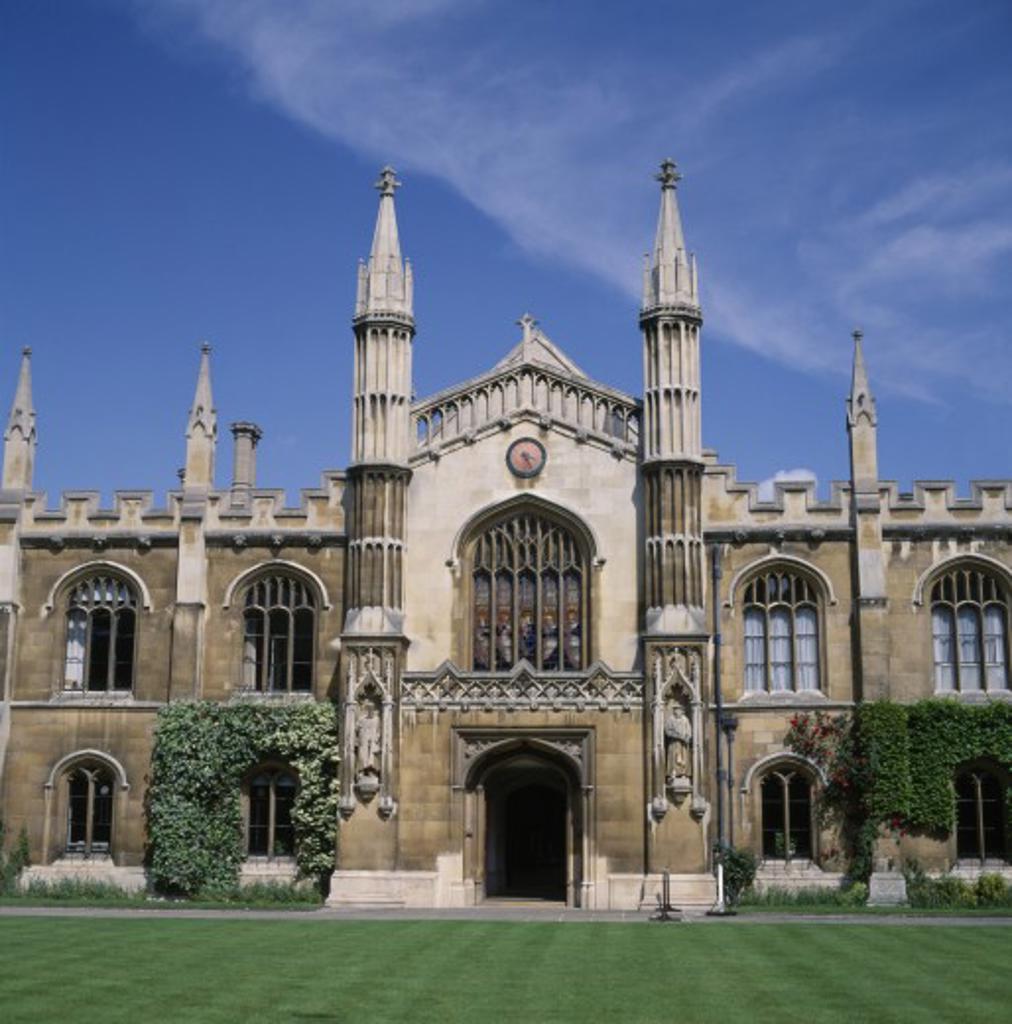 Stock Photo: 1850-1490 Education, University, Cambridge, Corpus Christi College Exterior Facade