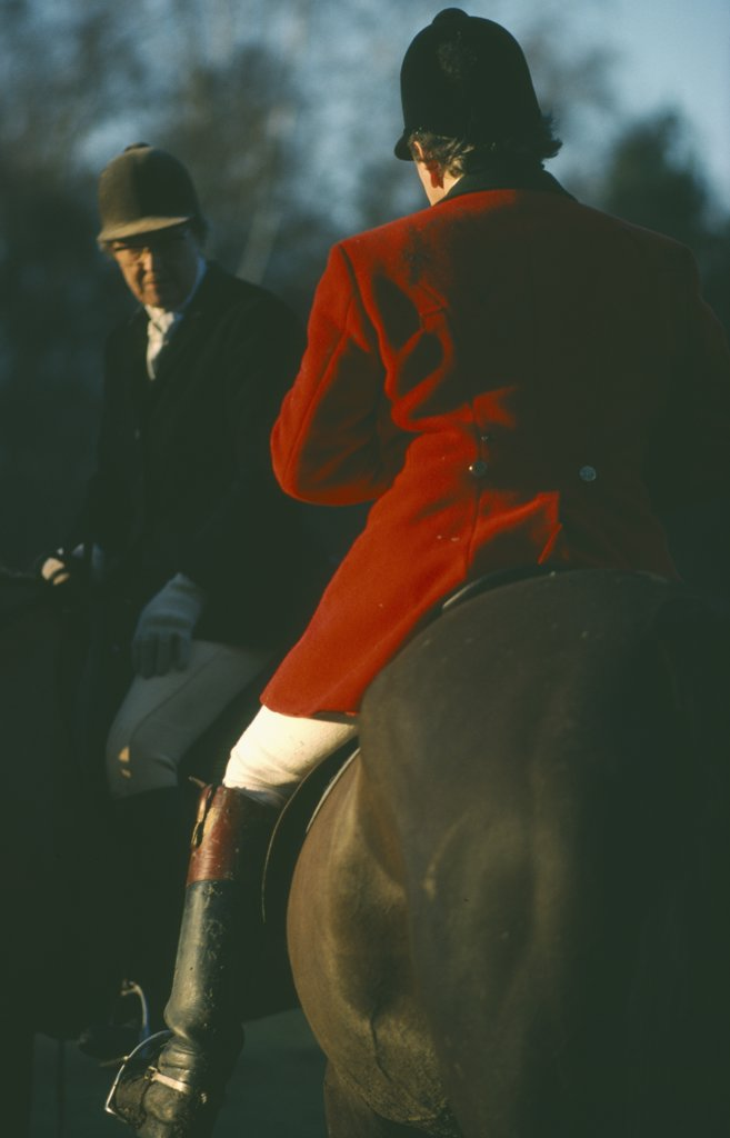 Sport, Equestrian, Foxhunting, Riders On Horseback With Male Rider Wearing Traditional Red Coat Also Known As Hunting Pink. : Stock Photo