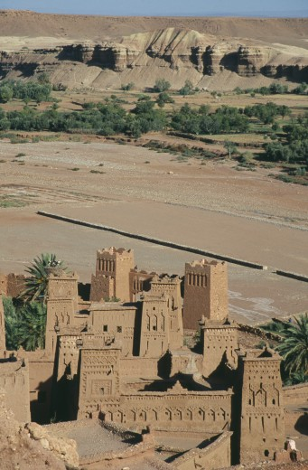 Morocco, Ait Benhaddou, Elevated View Over Kasbah Used In Films Including Lawrence Of Arabia And Jesus Of Nazareth. : Stock Photo