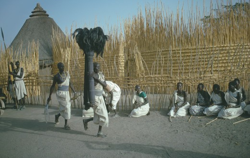 Stock Photo: 1850-15294 Sudan, Tribal Peoples, Shilluk Tribe Attending Coronation Of King.