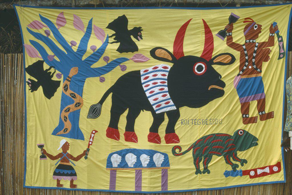 Stock Photo: 1850-15762 Benin, Voodoo, Voodoo Symbols On Embroidered Banner.