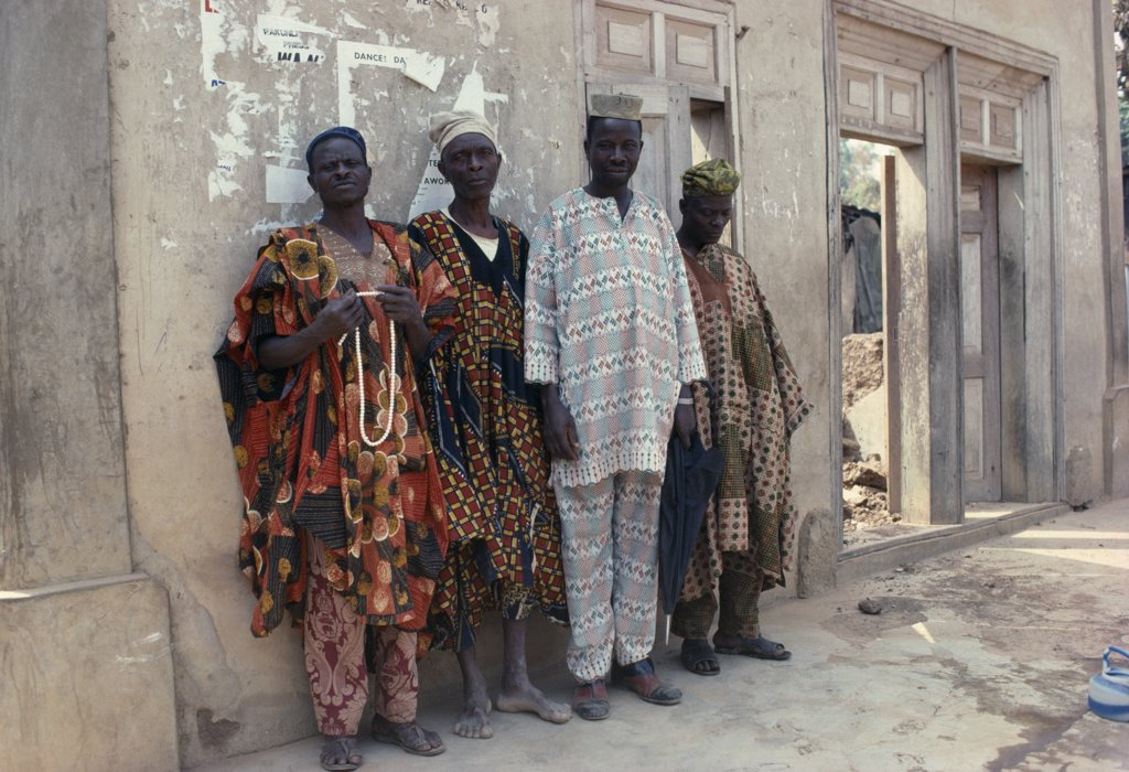 Nigeria, Ede, Full Length Portrait Of Group Of Yoruba Men Wearing Traditional Dress. : Stock Photo