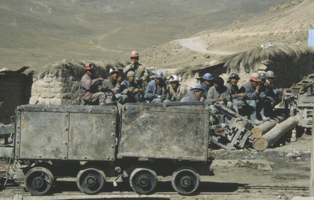 Bolivia, Potosi, Cerro Rico, Miners Chewing Coca Leaves Before A Shift At Candelaria Mine. : Stock Photo