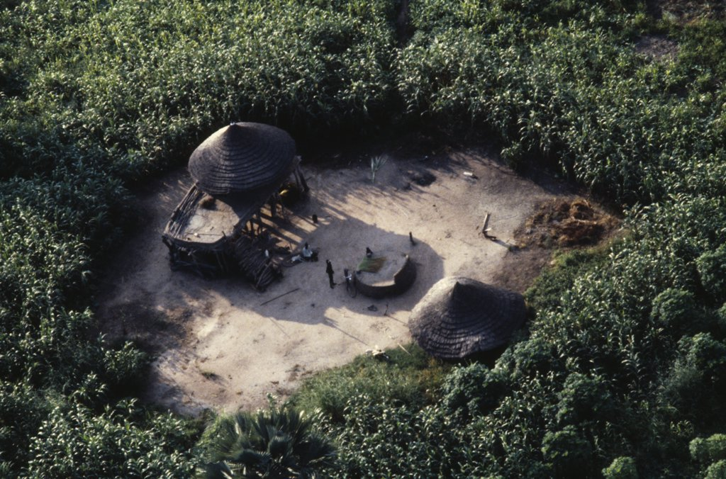 Sudan, Traditional Housing, Aerial View Over Dinka Settlement In Maize And Sorghum Fields. : Stock Photo