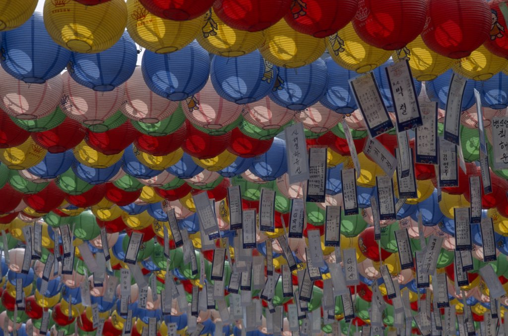 South Korea, Seoul, Jogyesa Temple. Buddhist Lanterns Hung To Celebrate Buddhas Birthday. : Stock Photo