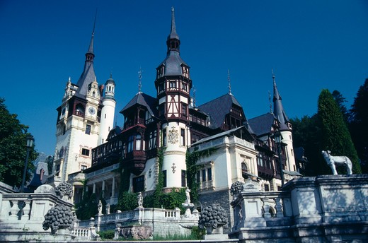 Romania, Prahova, Sinaia, Peles Palace Exterior In Eclectic Architectural Style. : Stock Photo