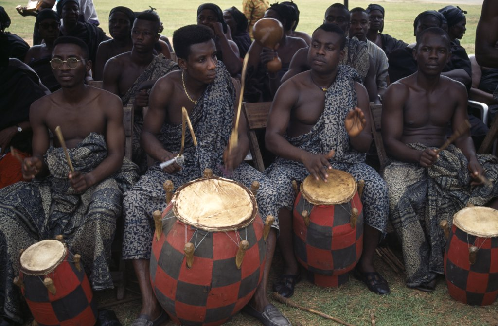 Ghana, Kumasi, Drummers Playing At Funeral Of Wife Of A Chief. : Stock Photo
