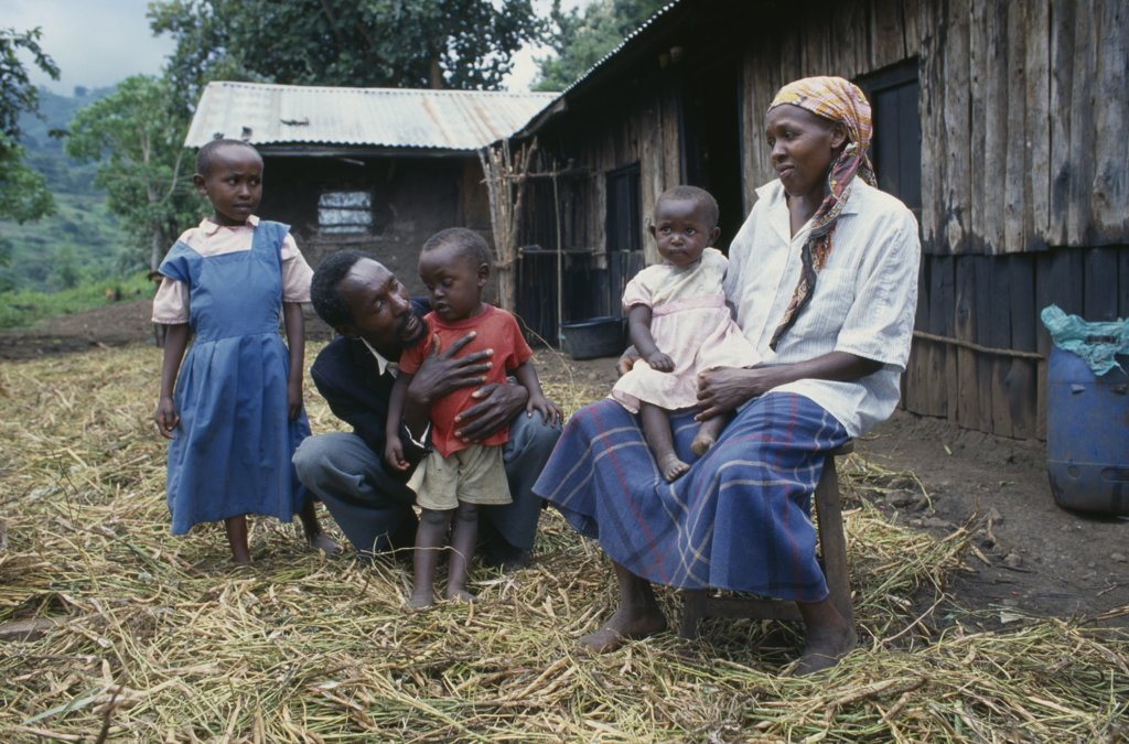 Stock Photo: 1850-17471 Kenya, Muhuroni, Peter Mwaura And Family At His Shamba At Chichila.  Peter Practises Organic Farming Techniques To Avoid Buying Expensive Fertilisers.