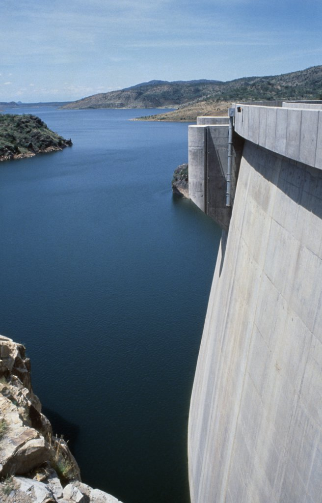 Stock Photo: 1850-17473 Kenya, Turkana District, Turkwel Dam, Controversial Arch Hydroelectric Dam That Has Cost Millions Of ?Aid? Dollars And Contributed Little To The Economy.