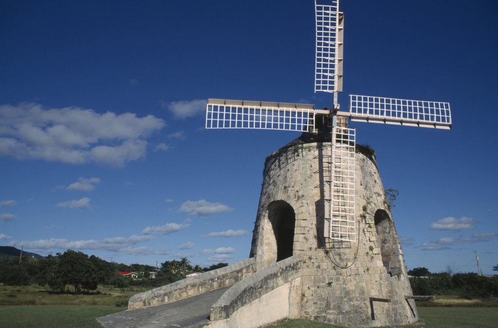 Us Virgin Islands, St Croix, Whim Estate, Windmill On Estate Restored To The Way It Was Under Danish Rule In The 1700S. : Stock Photo