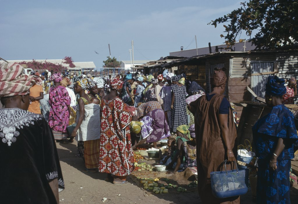 Gambia, Banjul, Busy Market Scene. : Stock Photo