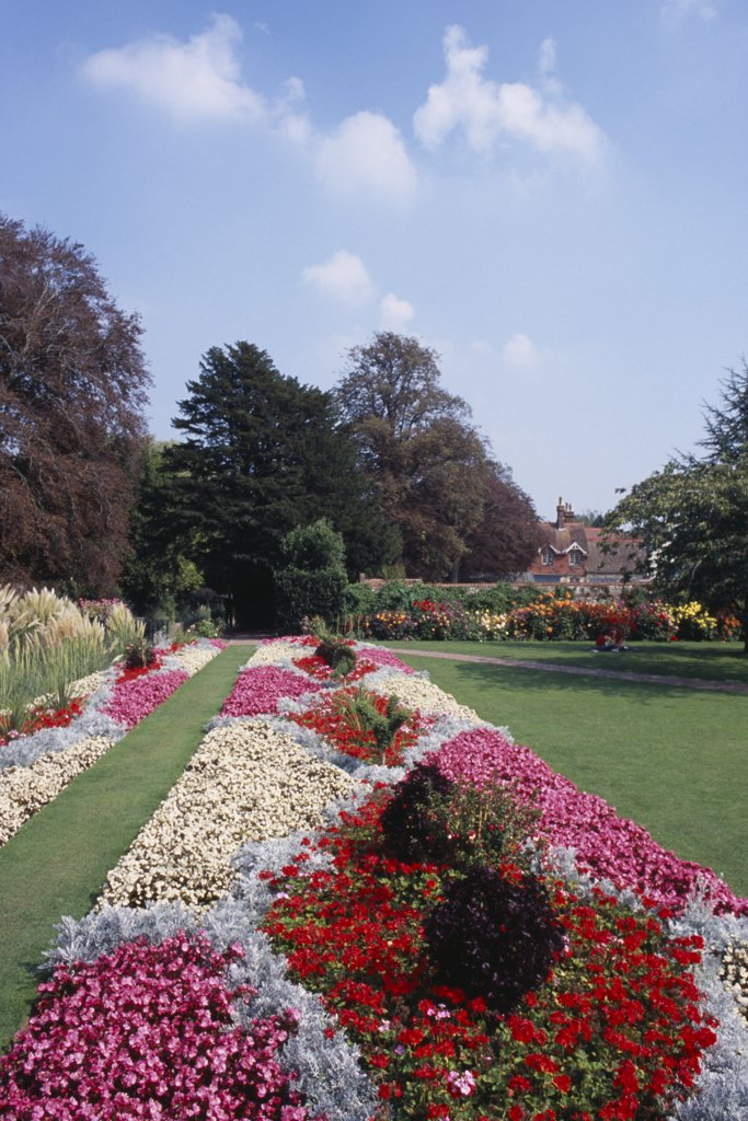 England, East Sussex, Lewes, Southover Grange Gardens. Colourful Flower Bed Displays : Stock Photo