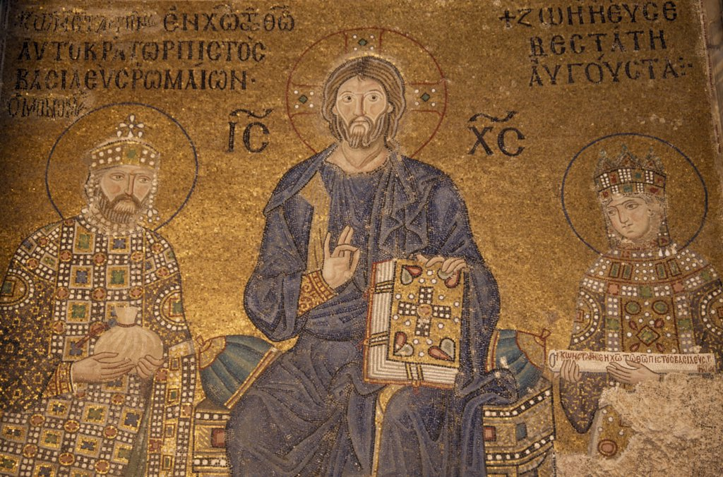Turkey, Istanbul, Detail Of Mosaic Painting In Aya Sofya Depicting Christ With Emperor Constantine Ix Monomachus Offering A Bag Of Coins And The Empress Zoe Holding A Scroll. : Stock Photo