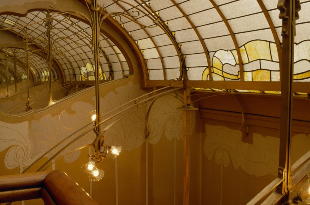 Stock Photo: 1850-18540 Belgium, Brabant, Brussels, 'Art Nouveau Stairwell And Glass Ceiling Inside The Horta Museum, The House Owned  And Designed By Arcitect Victor Horta In The Late 1890S. '