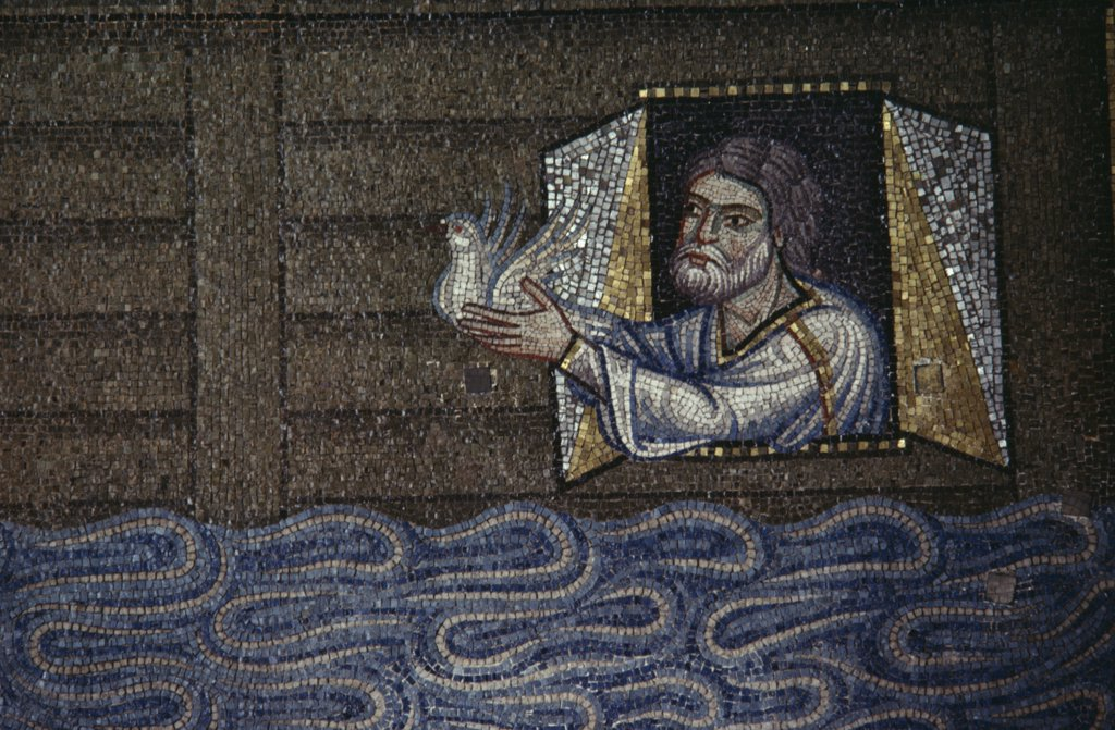 Stock Photo: 1850-18750 Italy, Veneto, Venice, Detail Of Mosaic Depicting Noah Releasing White Dove From The Floating Ark In Basilica Di San Marco.