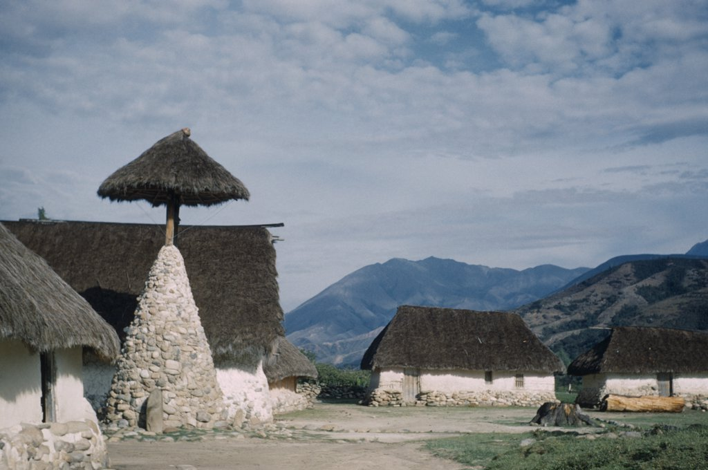 Stock Photo: 1850-18956 Colombia, Sierra Nevada De Santa Marta Southern Foothills, San Sebastian De Rabago, Catholic Mission Bell Tower In Ancient Ika Village Administrative Centre Of Nabusimaque Since Capuchins Left In 1978