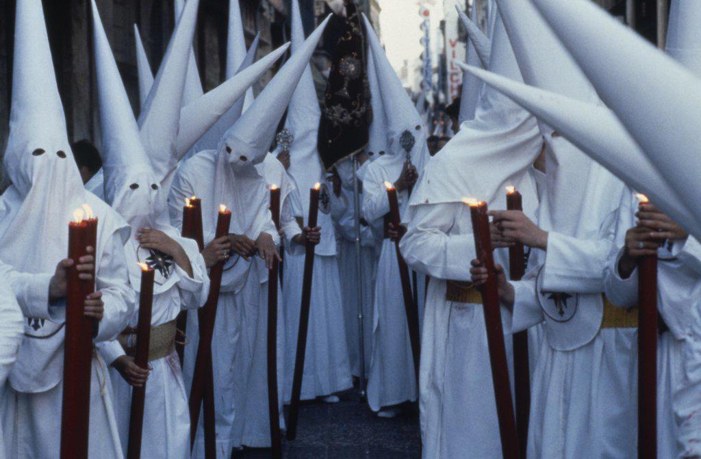 Stock Photo: 1850-19052 Spain, Andalucia, Seville, Semana Santa Holy Week Penitents.