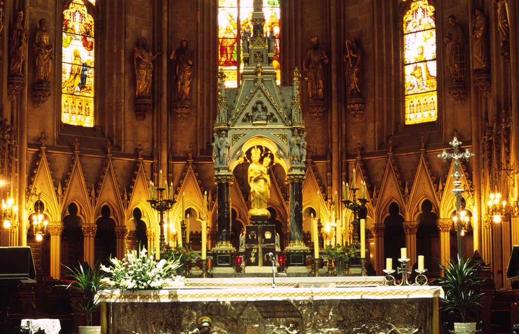Stock Photo: 1850-19333 Croatia, Zagreb, Cathedral Main Altar. The Cathedral'S Altar Is Modelled On The Country'S Famous Statue Of The Madonna And Child From The Revered Church And Place Of Pilgrimage At Maria Bistrica