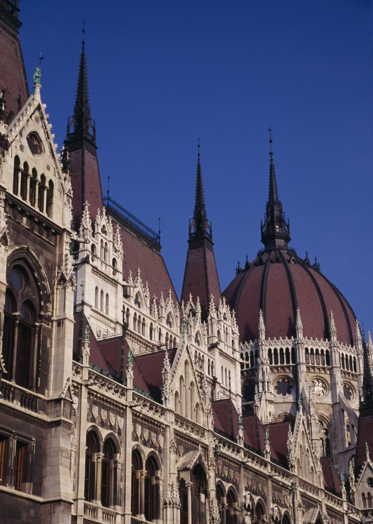 Hungary, Budapest, Part View Of Exterior Facade Of Parliament Building. Eastern Europe : Stock Photo