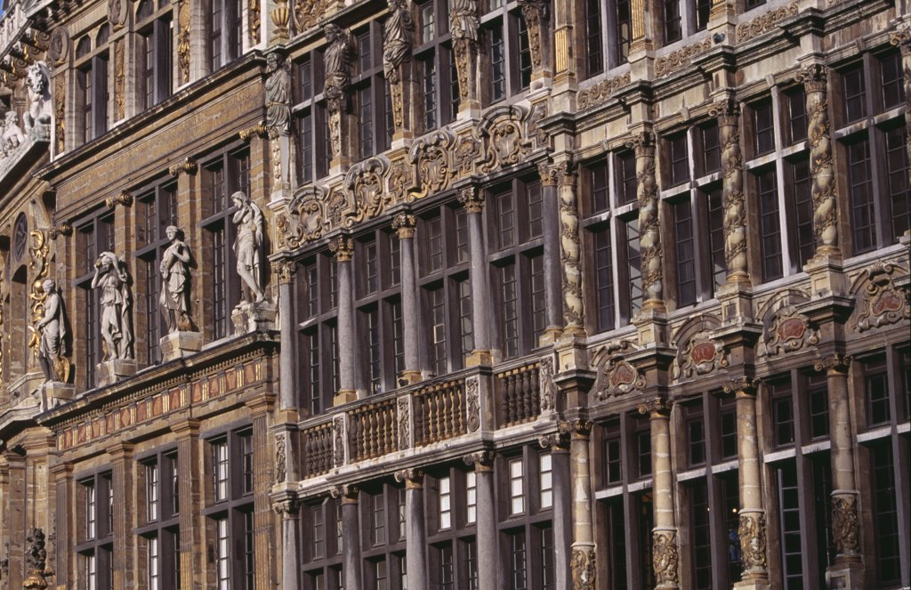 Stock Photo: 1850-19780 Belgium, Brabant, Brussels, Grand Place. Detail Of Decorated Facades Of Guild Houses In The Market Square. Unesco World Heritage Site