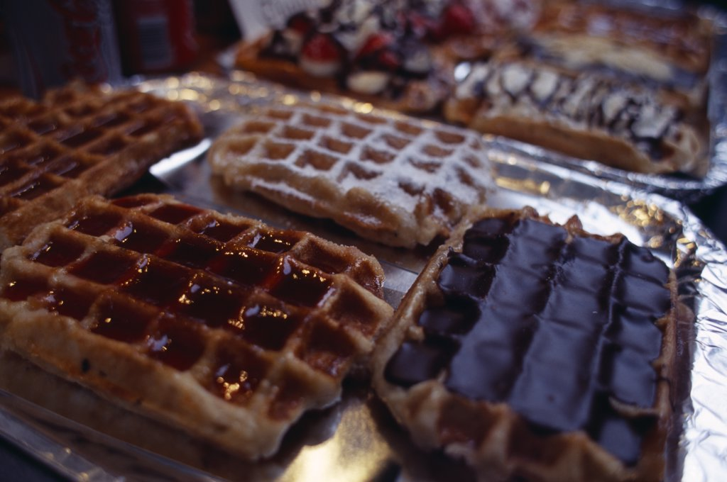 Belgium, Brabant, Brussels, Display Of Belgian Waffles. : Stock Photo