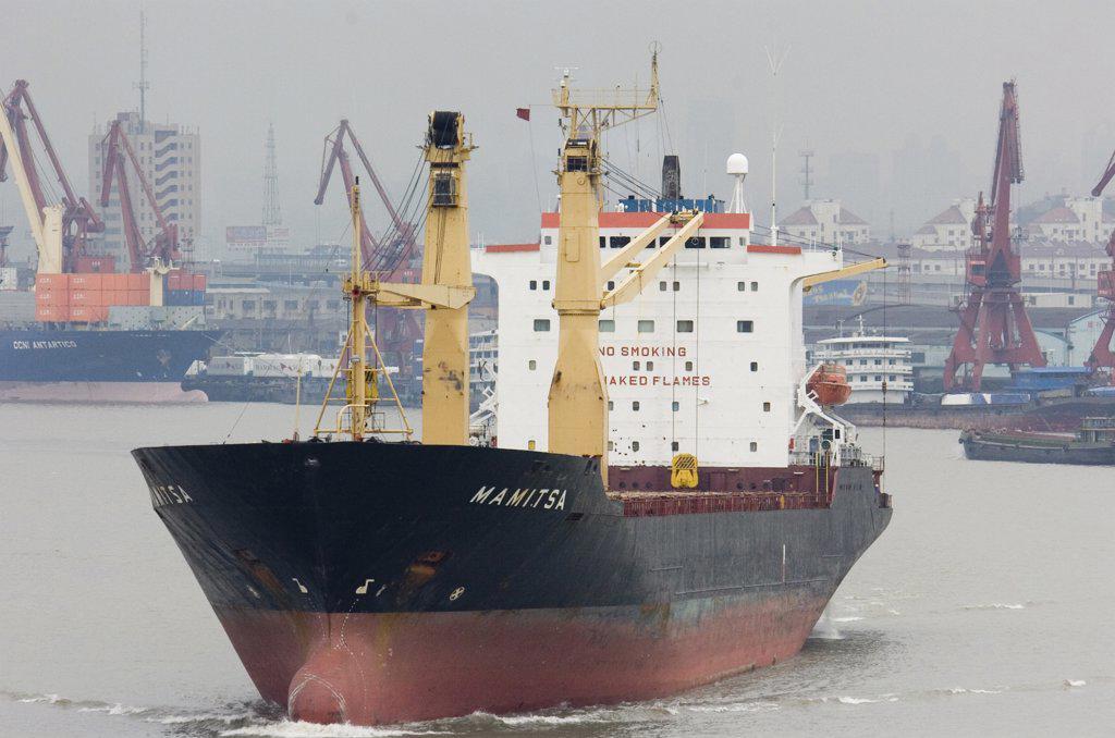 China, Jiangsu, Shanghai, Freighter Sailing From Shanghai Along Huangpu River : Stock Photo