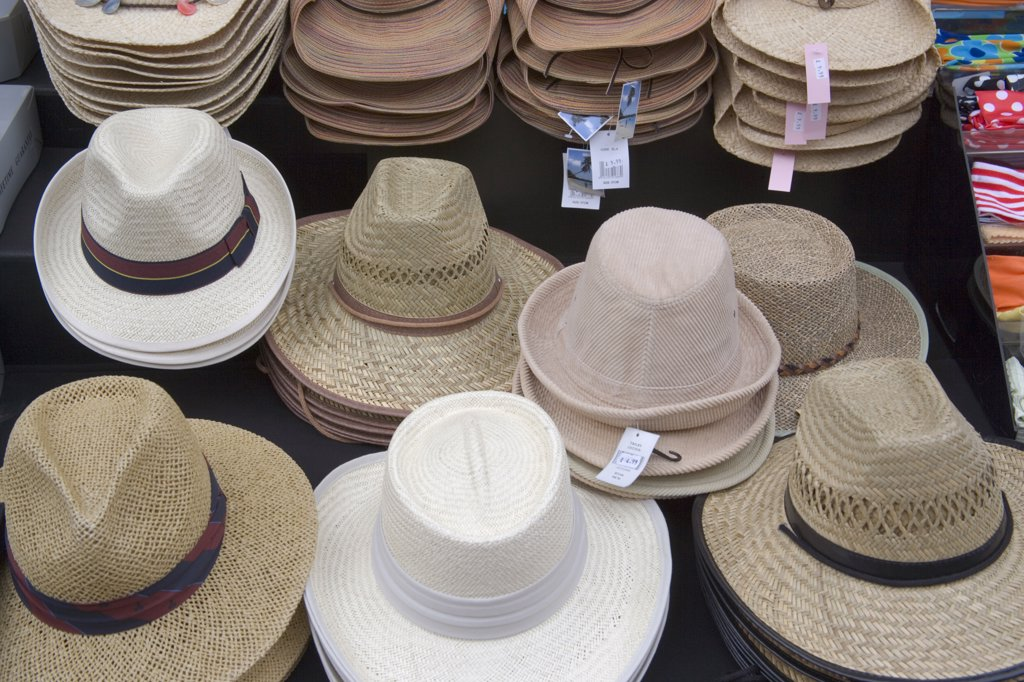 Stock Photo: 1850-20111 England, East Sussex, Brighton, 'Various Hats For Sale In Kensington Gardens, North Laines Area.'