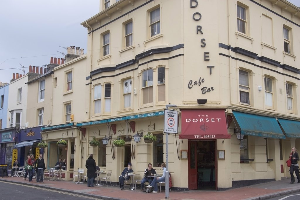 Stock Photo: 1850-20113 England, East Sussex, Brighton, 'Dorest Arms, Cafe And Bar On The Corner Of  North Road And Gardener Street , North Laines Area.'
