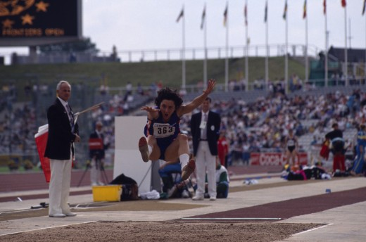 Sport, Athletics, Heptathalon, Sonia Delprete Competing In The Womens Long Jump At The World Student Games. : Stock Photo
